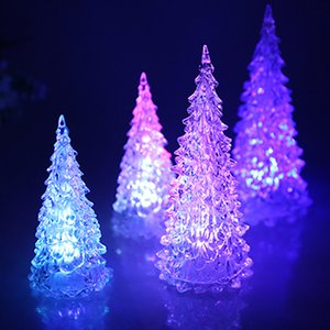 Üreticinin Yaratıcı renkli LED Mini Kristal Noel Ağacı Simülasyon Masaüstü Aydınlatma Akrilik Ağacı Flaş Noel Ağacı