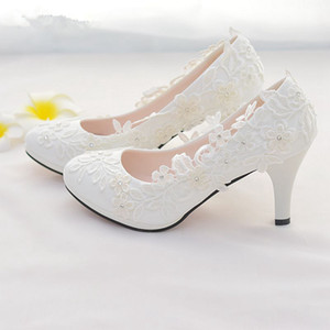White Lace Flower Wedding Shoes Slip On Round Toe Bridal Shoes High Heel Women Pumps Shallow Round Toe 4.5Cm 8Cm