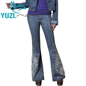 데님 청바지 여성 2018 Yuzi.may Boho 새로운 플레어 바지 섬세한 자수 지퍼 플라이 허리 진 스키니 청바지 Femme X2228