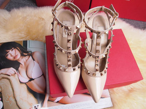 Горячо! Большой размер 2018 дизайнер 10 см Гладиатор высокие каблуки Женская обувь Обнаженные черные шипы Т-ремень насос лакированной кожи шпильки Леди обувь лето