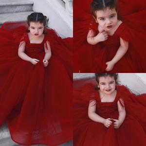 Dark Red Tulle Straps Tassel Flower Girls' Dresses Princess Pageant Ball Gown Birthday Party Dress Kids Formal Wear BC0290