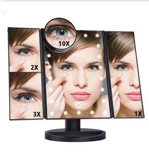 22 Pantalla táctil LED Espejo de maquillaje 22 Pantalla táctil iluminada LED 1X / 2X / 3X / 10X Ampliación Plegable Mesa ajustable Espejo LED