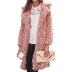 도매 - 가을 겨울 여성 모피 코트 2017 긴 소매 카디건 코트 여성 따뜻한 빅 사이즈 오버코트 핑크 슬림 따뜻한 코트 Casaco Feminino