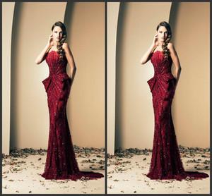 2020 New Ziad Nakad Abendkleider Vintage-Burgund Strapless Kristalle Perlen bodenlangen Luxus-Nixe Promi-Festzug Kleider Prom Gow