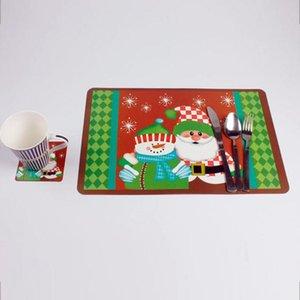 Navio livre 2 peça / set Mesa De Natal Utensílios De Mesa Mat Com Beber Coaster Decoração de Mesa de Natal para Casa Xmas Almofada de Jantar Titular Talheres
