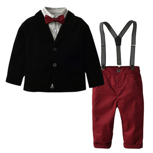Moda Meninos roupas crianças tarja lapela manga comprida camisa + blazers outwear + calças suspender + laços 4 pcs define conjuntos de cavalheiro crianças Y5399