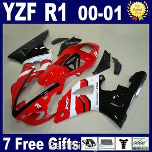 Venda quente carenagem kit para YAMAHA R1 2000 2001 preto branco vermelho carenagem YZF R1 00 01 FD15