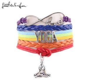 Little MingLou 7 Chakra infinito amor Yoga pulsera Hatha Yoga meditación OHM Asana encanto deportivo hombres pulseras brazaletes para las mujeres