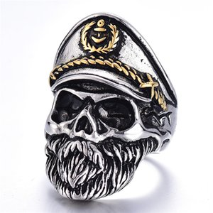 Punk Death Skull Ring Skeleton Military Military Officer Navy Captain Skull Ring Punk Vintage Gothic Biker Hip Hop Homens Mulheres Jóias
