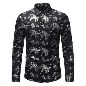 Spring Autumn Mens Autumn Winter  Fashion Lapel Printing Long Sleeve Shirt Top Blouse Drop Shipping