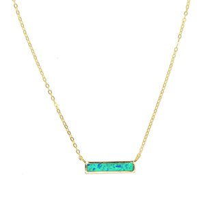 100% 925 gioielli in argento opale pietra preziosa blu bianco fuoco opale semplice barra geometrica fascino minimo argento collane