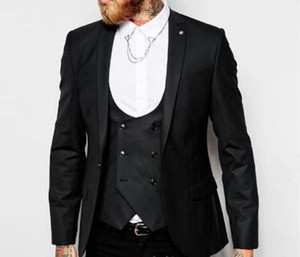 New Arrival Black Groom Tuxedos Peak Lapel One Button Center Vent Man Wedding Suit Men Business Dinner Prom Blazer(Jacket+Pants+Tie+Vest)389