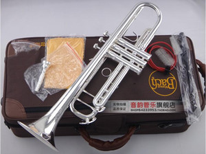 Bach LT180S-90 Professional Trumpet Brass Tube Silver Plated Trompeta professional Instruments Exquisite Carved Bb Tune Trumpete