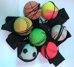 2018 جديد متعة نطاط الفلورسنت المطاط الكرة المعصم باند الكرة الكمامات لعب مضحك مطاطا الكرة تدريب الاطفال اللعب ضد الإجهاد لون عشوائي