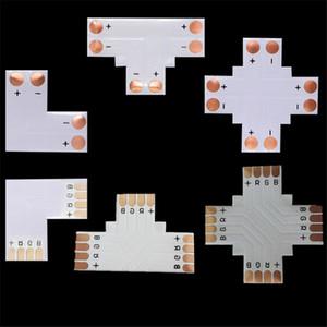 용접 PCB 커넥터 2pin 4pin 5pin 8mm 10mm 12mm X T L 모양 RGB RGBW LED 스트립 빛 커넥터