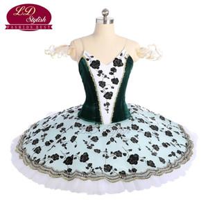 Verde escuro Profissional Tutu Ballet Stage Wear Adulto Performance Dancewear Mulheres Ballet Trajes de Competição de Dança Meninas Ballet Saia