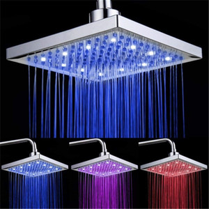 LED Shower Head Temperature 3 Color Changing 8 inch Square ABS Chrome Finish 12 Leds For Bathroom Bath Shower Head