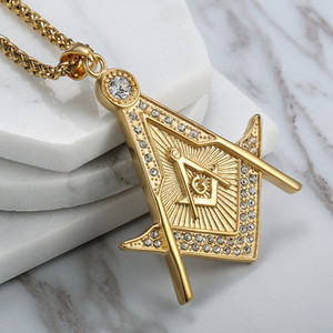 Высокое качество из нержавеющей стали 316 золото религиозный масон масонская подвеска бесплатно Мейсон эмблема AG ожерелье ювелирные изделия с хрустальными камнями