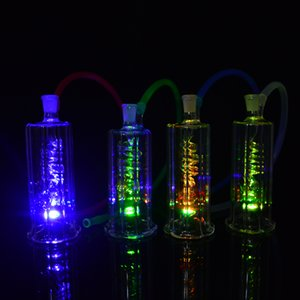 LED Dab Rig Glass Bong 4.5 дюймов Портативные Нефтяные Установки Водопровод Труба Inline Катушка Perc Кальян Курительные трубки 10 мм Совместная Бесплатная Чаша + Шланг