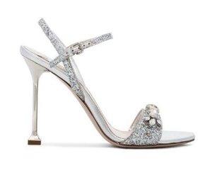 Paillettes argento Tacco a spillo in cristallo Sandali donna Open Toe Tacchi alti Scarpe da sposa Fibbia Cinturino Slingback Pompe da donna