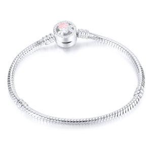1 adet Çiçek Gümüş Kaplama Bilezikler Yılan Zincir Fit Charm Boncuk pandora Bileklik Bileklik Kadınlar Kız Hediyeler için BR010