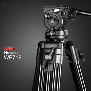 Novo wf718 tripé de vídeo profissional câmera dslr heavy duty tripé com fluido pan cabeça para canon nikon sony câmera filmadora dv