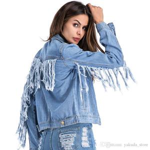 새로운 스타일 가을 여성 코트 여성 데님 자 켓 2018 유행 맞춤 된 술 진 자 켓 플러스 크기 5Xl 캐주얼 Streetwear Outerwea