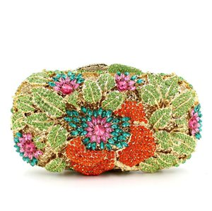Dgrain Dazzling Women Green Hollow Out Floral Evening Metal Clutches Small Minaudiere Handbag Purse Wedding Box Clutch Bag Evenng Clutch