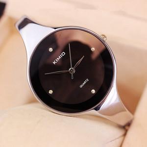 Kimio marca Top vendita donne orologio da polso per le signore rotondo grande quadrante semplice braccialetto Wacthes vestito orologio da regalo al quarzo orologio con acciaio inossidabile