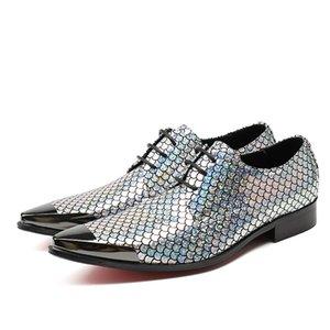 Мужские туфли с острым носом с металлической крышкой на шнуровке Блестки Мужская деловая кожаная обувь ВечеринкаСвадебная обувь для мужчин