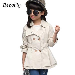 BEEBILLY Mädchen Trenchcoat Herbst 2017 Kinder Langen Mantel Kinder Baumwolle Oberbekleidung Jacken Teenager Mädchen Kleidung Mode Outwear