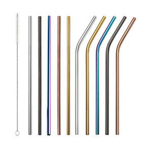 8.5inch 10.5inch Многоразовая нержавеющая сталь 304 Изогнутые прямые соломинки для чашки 900 мл Золото Розовое золото Черный цвет радуги