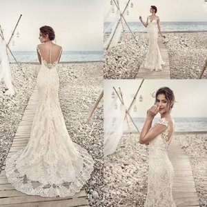 2019 Gorgeous Full Lace Wedding Dresses Eddy K Aires Mermaid Appliques Sheer Beach Cap Sleeve Vintage Lace Bridal Gowns Custom Made