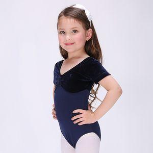 Kadife kısa Kollu Bale Elbise Dansçı Jimnastik Leotard Kız Dans Çocuklar Kızlar Için Dans Bale Kostümleri Leotard Kız Giyim