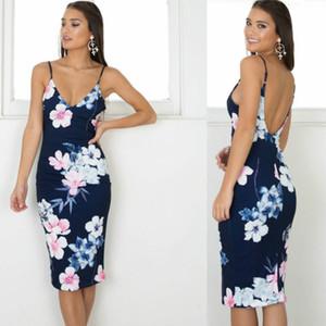 2018 Summer Dress Sexy Tight Condole Belt Criss-Cross Print Flower Dresses Sleeveless Casual Backless Long Club Party Dress Vestido De Festa