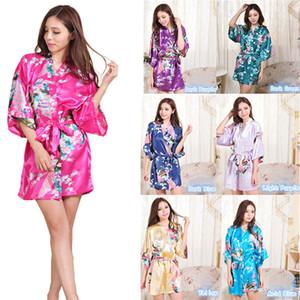 12 couleurs satin satin satin floral nuit robe femmes kimono short de vêtement de vêtement de vêtement de vêtement de soie en soie