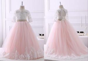 2020 Blush Pink С Ivory Lace линии Цветочницы платьем Дешевого Длинного Pearls лента Кихол Назад Кружево Тюль Первого причастием платья