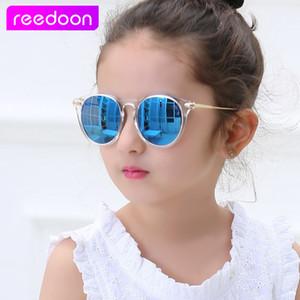 Reedoon crianças meninas óculos de sol polarizada uv400 lente espelho moldura de metal óculos de sol do bebê da criança óculos de sol bonito oculos infantis 2958 d18101302