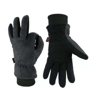 Gants d'hiver à cinq doigts, deux couches de gants de ski chauds et froids et de gants antigel pour températures basses