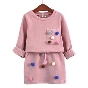 AiLe Rabbit Girls Clothes Set Mode chemise à manches longues Jupe 2 morceaux de couleur laine Ball Vêtements pour enfants
