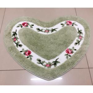 Heart Shape Door Floor Mat Soft Polyester Rose Flower Mat Pad Mat Bedroom Bathroom Anti Slip Rug Carpet Tapis Water Absorption