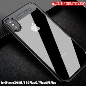 Para iPhone X Transparente Suave TPU + PC Hard Clear Back Cover Premium Armor Hybrid a prueba de golpes Fundas híbridas para iPhone 8 7 6 6 s Plus