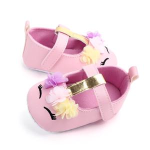 Bebek Kız bebekler Çiçek Unicorn Ayakkabı PU Deri Ayakkabı Yumuşak Taban Yatağı Ayakkabı İlkbahar Sonbahar İlk yürüyüşe 0-18M