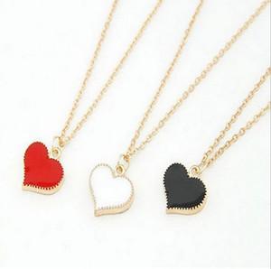 Collana corta in forma di cuore del metallo semplice brandnew dei monili di modo delle donne, collana placcata oro 24pcs / lot di goccia del pendente della collana placcata oro