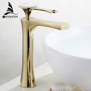 Waschtischarmaturen White Painted Wasserfall Wasserhahn Single Hole Einhandbecken Wasserhahn Crystal Griff Silber Mischbatterie WF-18056