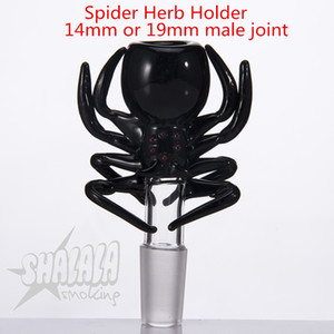 Spider Herb Holder bowl With 14mm 19mm Male Joint For Glass Bongs Water Pipes glass smoking accessories SHALALASMOKING