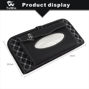Tissue Box Car Slot para cartão multifuncional Auto Sunvisor Universal Estiva durável e Couro Caixa de armazenamento Tidying Car Acessórios Interior