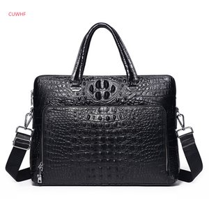 Crocodile pattern Men Genuine Leather briefcase men's Handbag Vintage Crossbody Bag Business Man Computer package File package