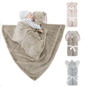 Sac de couchage pour enfants Lits en laine polaire Elephant Couverture Ours de lapin chaud Couvertures nourrissons Bandeau de bébé dessin animé drap de lit Sac de couchage 76 * 76