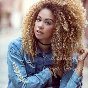 흑인 여성을위한 인간의 머리카락 가발과 같은 아프리카 머리카락 짧은 짧은 BOB 금발 실키 곱슬 머리결 가발 가발 시뮬레이션